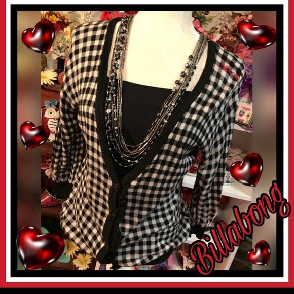 Billabong Sweaters - Billabong checkered button up sweater